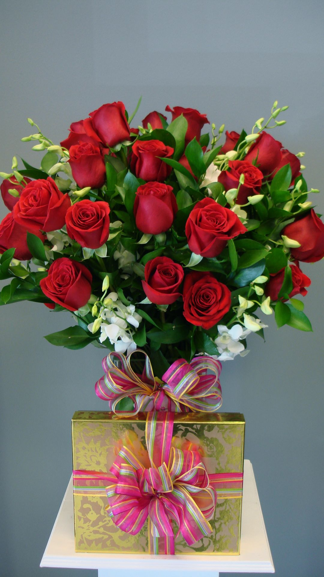 Three Dozen Long Stem Roses with Orchids & Chocolates