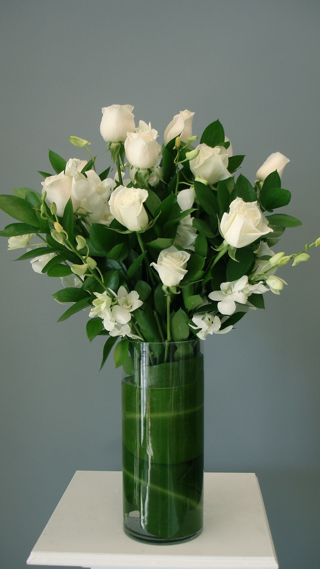 Dozen White Roses with Orchids