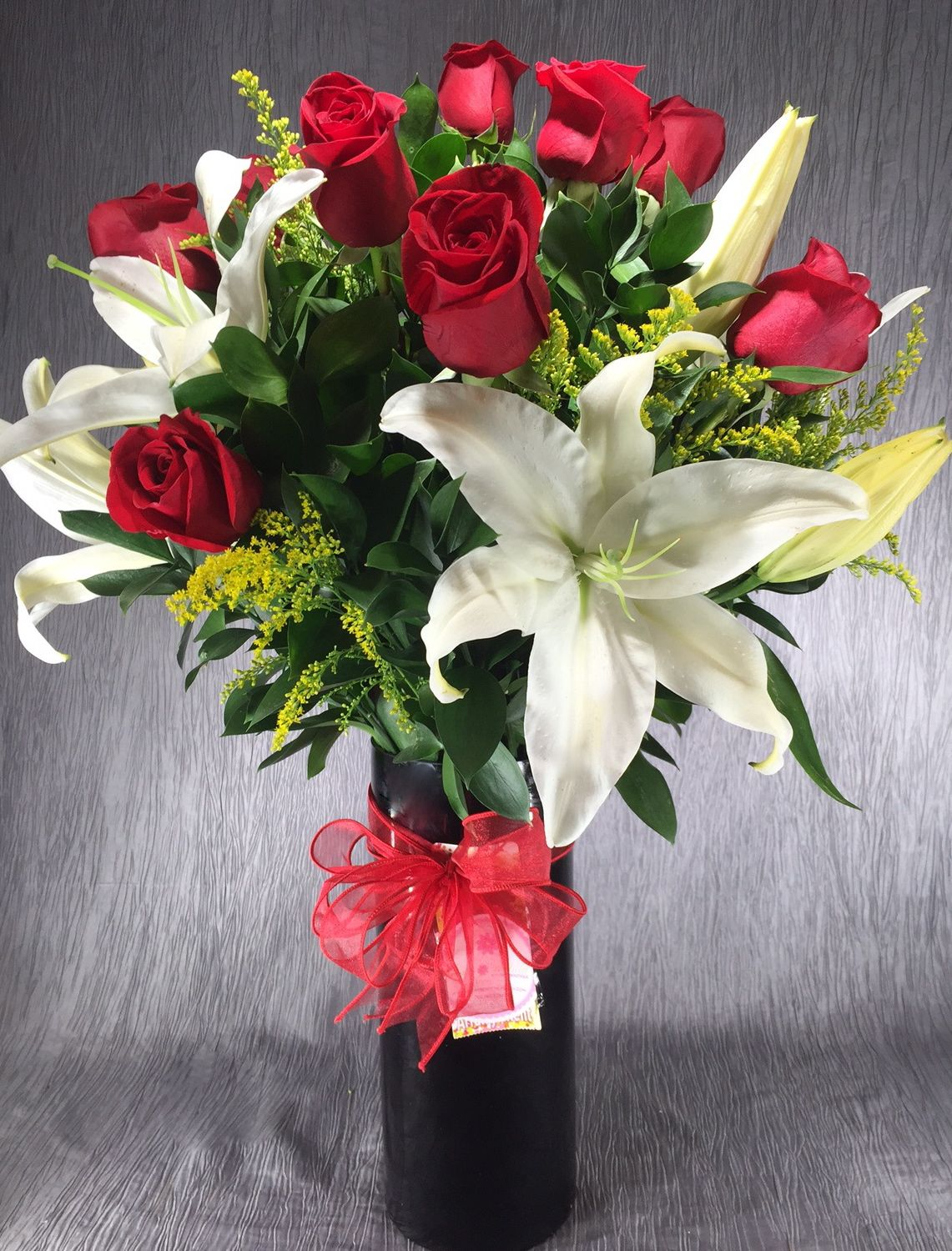 Dozen Long Stem Roses with White Lilies