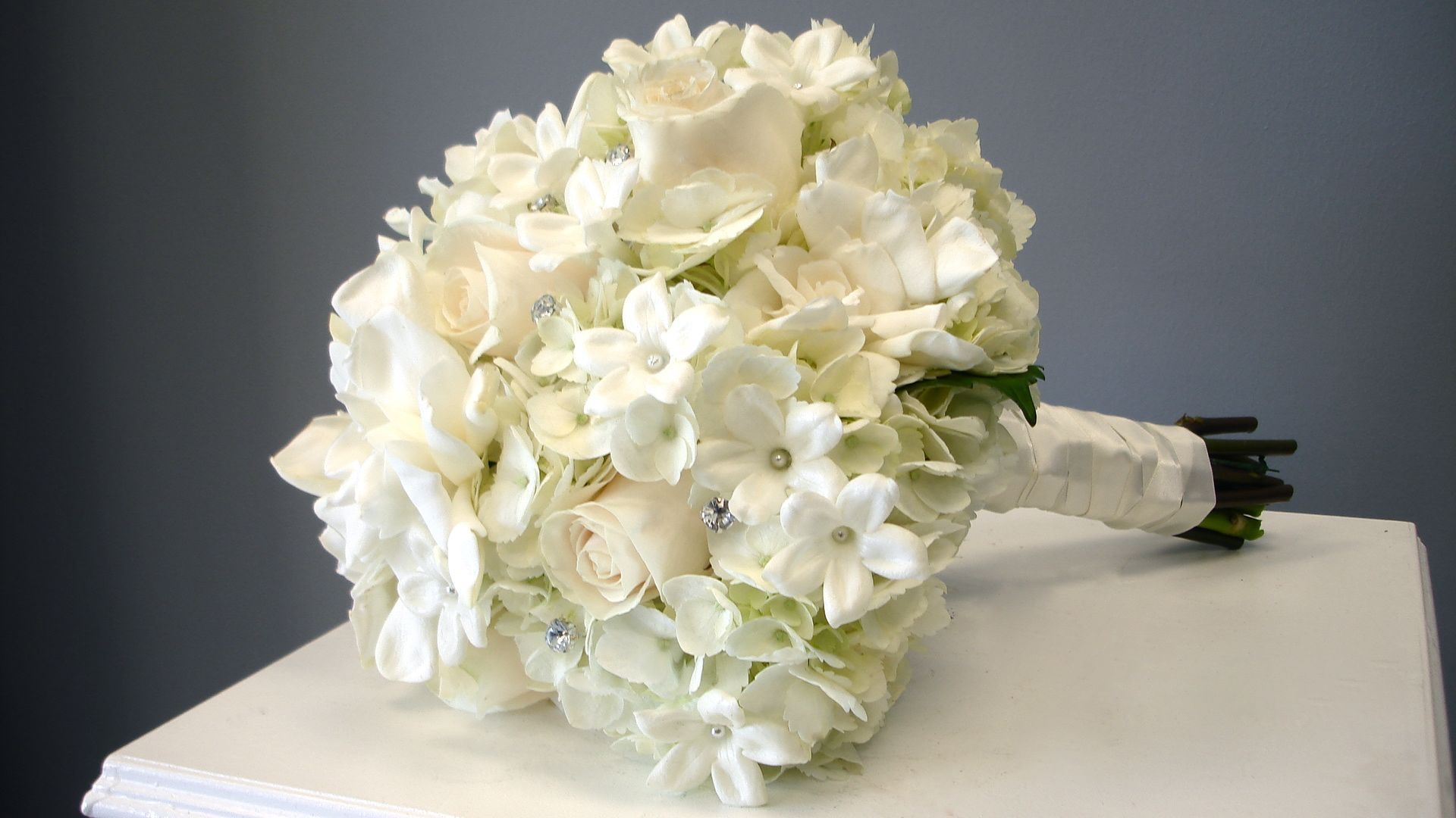 gardenia stephanotis rose hydrangea bridal bouquet