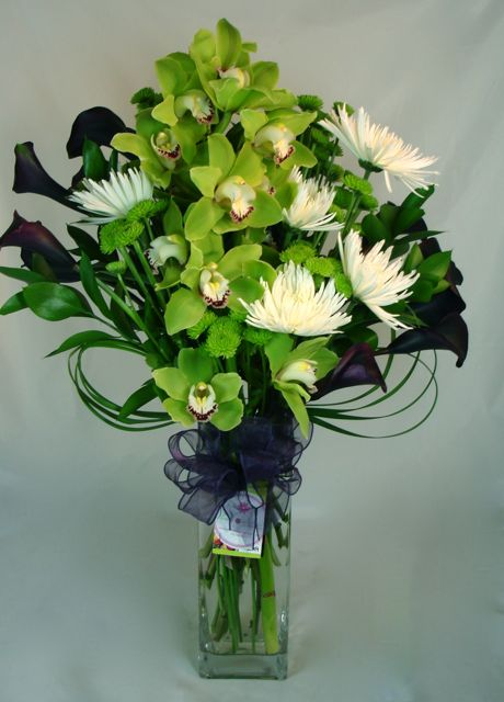 Green Zen Orchids and Calla Lilies