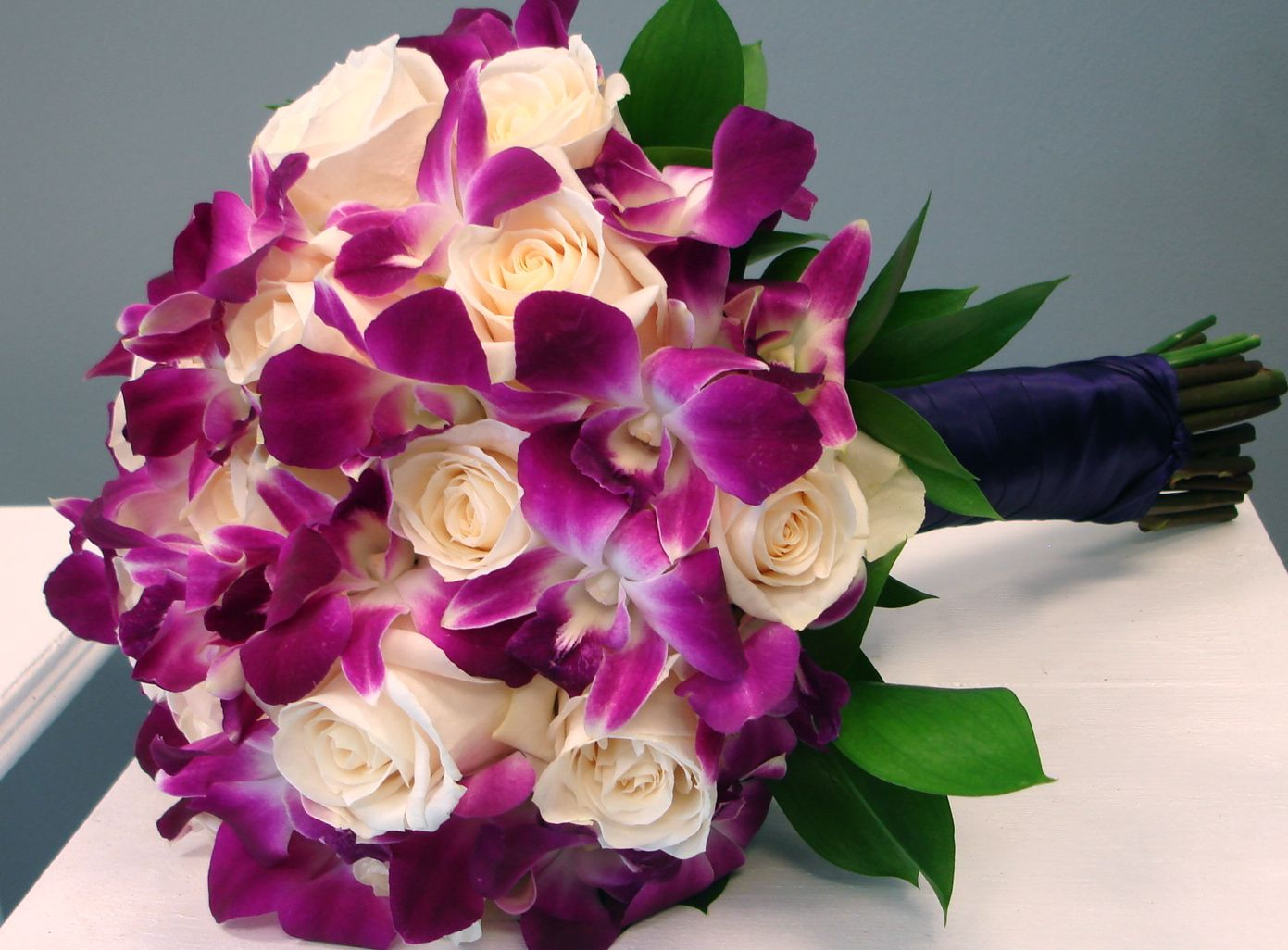 Roses and Orchids Bridal Bouquet - Flowers of the Field Las Vegas