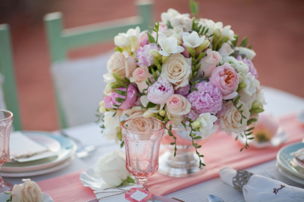 Peonies, Hydrangea, Garden Roses, Freesia, Wedding Table Centerpiece