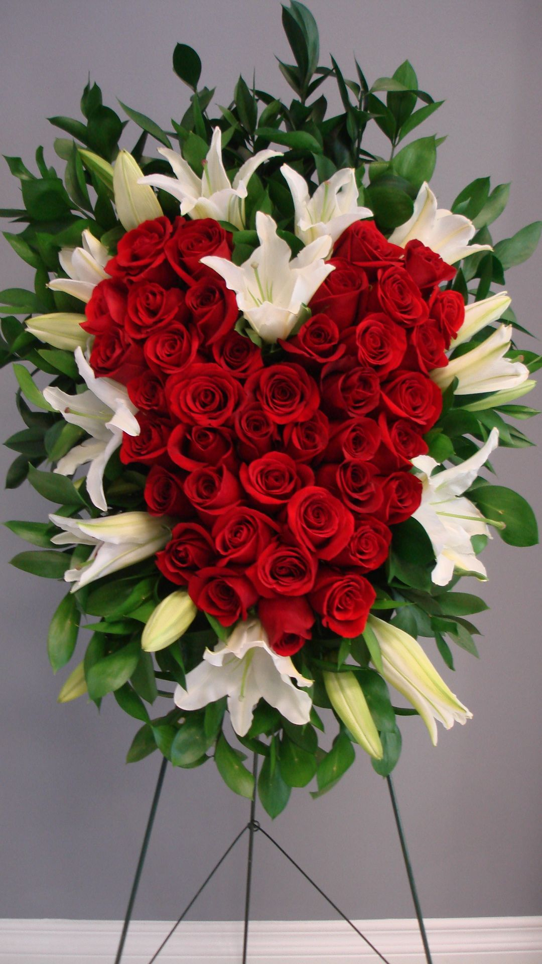 Red Rose Heart Standing Spray