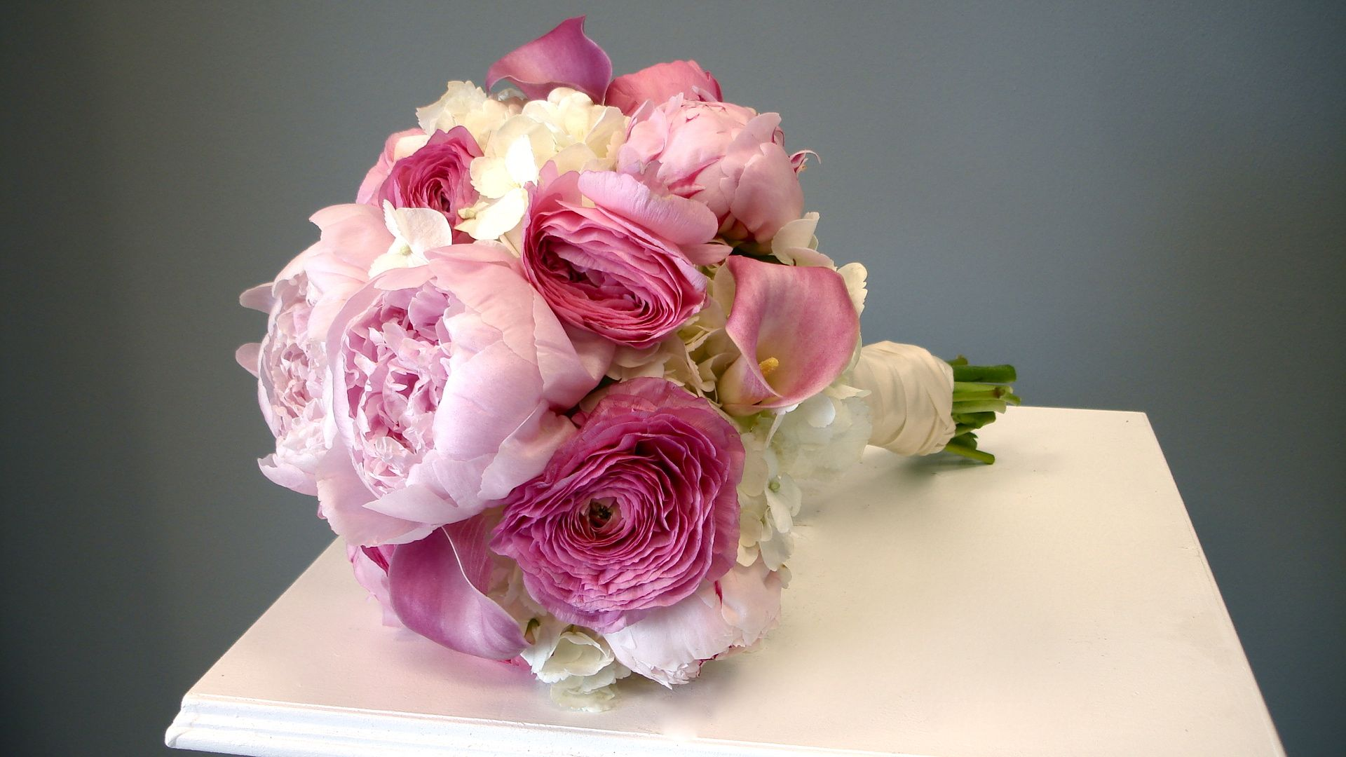 Pink Garden Rose And Hydrangea Bouquet custom designed bridal bouquets