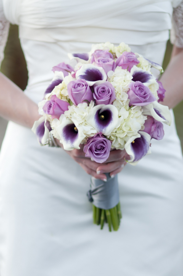 Pico Calla Lily Cool Water Purple Rose Hydrangea Bridal Bouquet