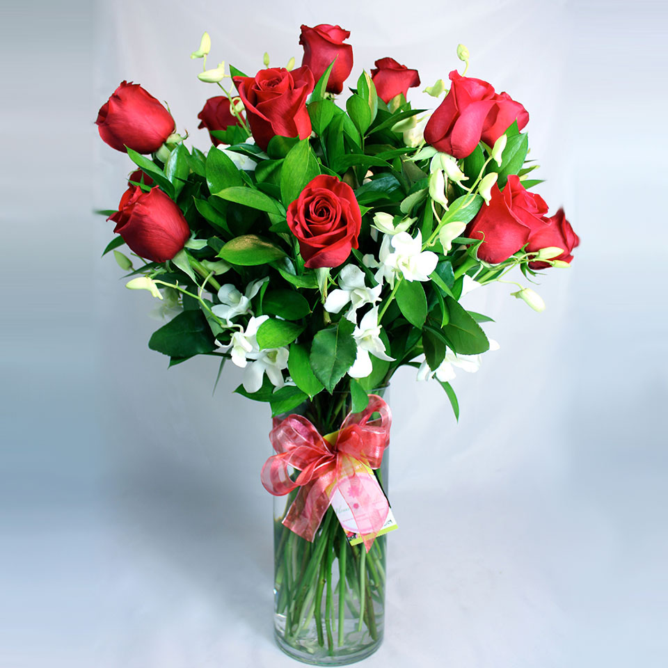 Dozen Long Stem Red Roses With Orchids